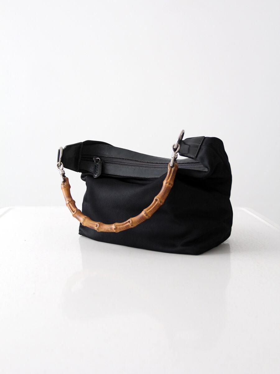 Gucci diana bag with bamboo handle, black nylon s… - image 4