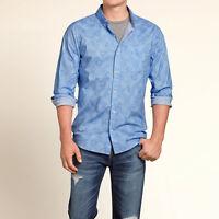 Men Hollister Casual Shirt Plaid Graphic Top Print Button Down Front Woven S