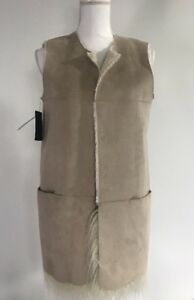 Ivory Nicola Fur Vest Small Gæt Faux Casual Womens Reversible Top xB77Z
