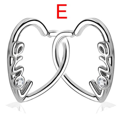 Crystal Heart Hoop Nose Ear Rings Helix Tragus Cartilage Earrings Piercings JB