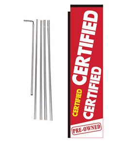 Certified Preowned Dealership 15' Advertising Rectangle Banner Flag w pole+spike