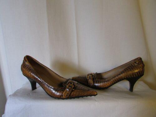 The 37 Rettile Scarpe marrone Caramel Simil Pelle Shoe Original Car US7zSdq