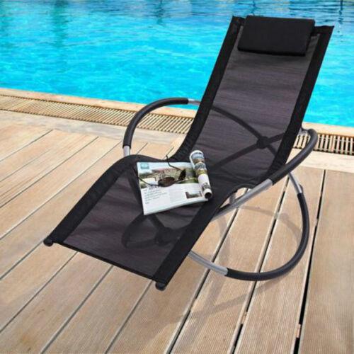 Noir Pliable Bascule Chaise Longue Chaise Inclinable Jardin PATIO meubles Moon