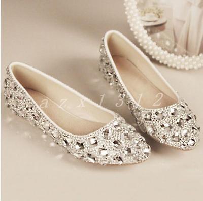 Womens Silver Bling bridal wedding crystal low heel flat bridesmaid prom shoes   eBay