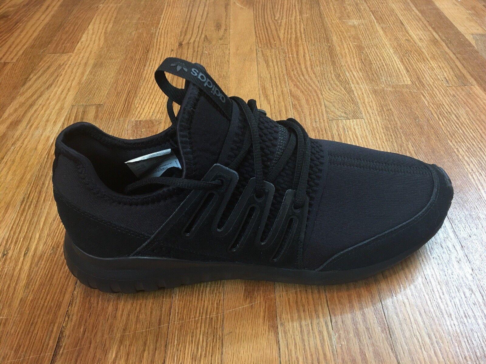 Adidas Mens Tubular Radical shoes Sz 10 Triple Black Running Trainer Sneakers