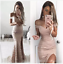 Pink-Off-Shoulder-Full-Lace-Mermaid-Prom-Gowns-Side-Split-Formal-Evening-Dress