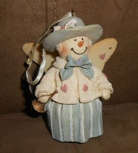 Resin TJ's Christmas Lady Snowman Angel Ornament - NEW w/Tag