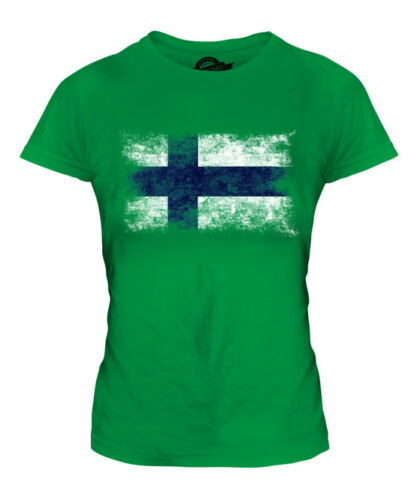 FINLAND DISTRESSED FLAG LADIES T-SHIRT TOP SUOMI FOOTBALL FINNISH GIFT SHIRT