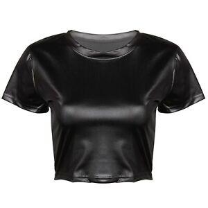Femme-Sexy-T-Shirt-en-Faux-Cuir-Brillant-Col-rond-Haut-court-a-Manches-courtes