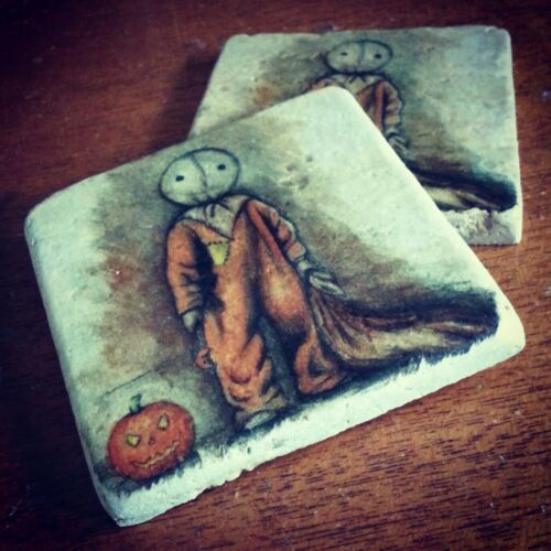 TRICK OR TREAT Sam Tumbled Stone Drink Coasters Set of 2