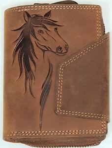 RFID-Geldboerse-Pferd-Praegung-Naturleder-Bueffelleder-Damenboerse-Geldbeutel