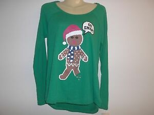 OH-SNAP-GINGERBREAD-MAN-Size-Medium-Green-Shirt-Top-New-Womens-Christmas-Holiday