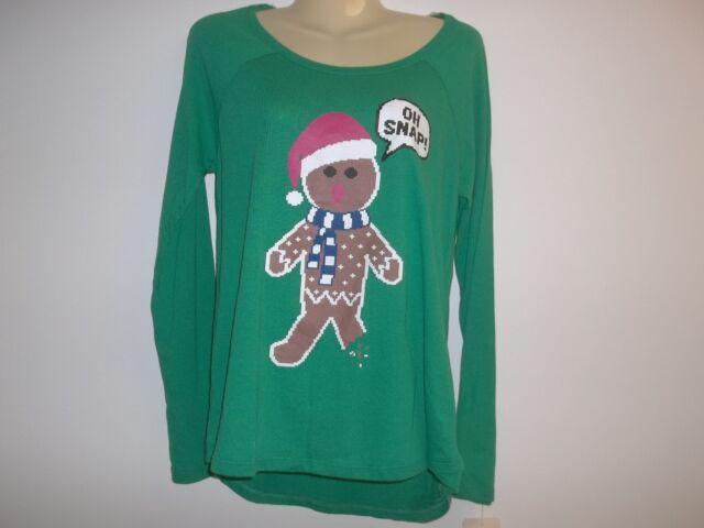 OH SNAP GINGERBREAD MAN Size Medium Green Shirt Top New Womens Christmas Holiday