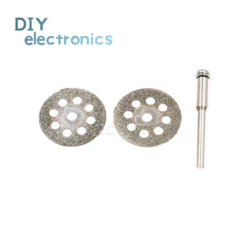 10PCS Rotary Diamond Glass Cutting Discs Disks+Mandrel Dremel Tools 22mm US