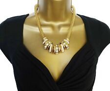 Beautiful Chunky Snake Chain Mesh Necklace with Diamante and Bead Charms 19 - 21