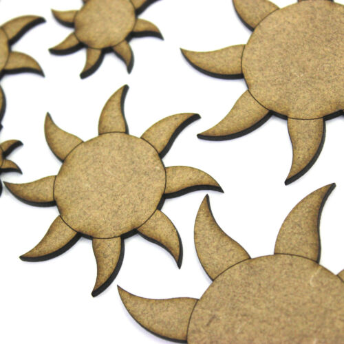 Summer 2mm MDF Wood Sunshine Sun with Rays Craft Shape Blank Various Sizes
