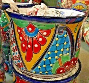 """TALAVERA MEXICAN POTTERY -  CURVED 5"""" MED PLANTER - COLORFUL"""