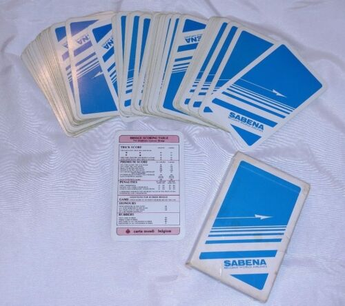 Vintage SABENA Belgian World Airlines Playing Cards Plane Deck Blue Belgium 0576