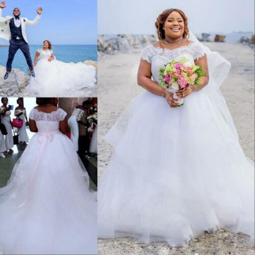 Plus Size White//Ivory Cap Sleeve Wedding Dresses A-line Boat Neck Bridal Gowns