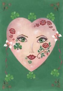 ART NOUVEAU COSTUME MASK IRISH GREEN CLOVER GARDEN GIRL LASS RED ROSE PAINTING