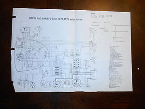 s l300 bmw oem r50 5 r75 5 1972 1973 dealer wiring diagram with fuses ebay