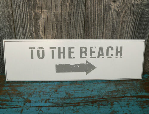 Wooden sign to the Beach Sign Wood White or Grey Shabby Wall Slogan Nautical Decoration