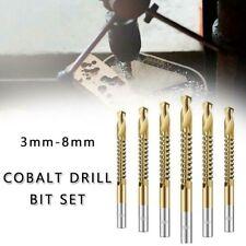 6X 3-8mm High Speed Steel HSS Ti Titanium Coated Step Drill Bit For Hole Cutting
