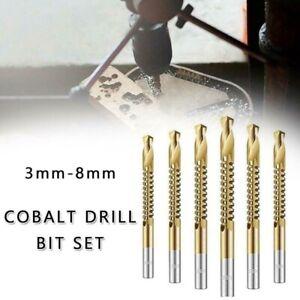 6Pcs 3-8mm HSS Ti Step Drill Bits Woodworking Wood Metal Cutting Hole Saw