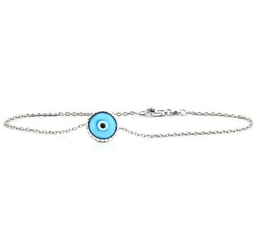 Handmade 14K White Gold Evil Eye Bracelet Florescent Blue 7.5 Inches