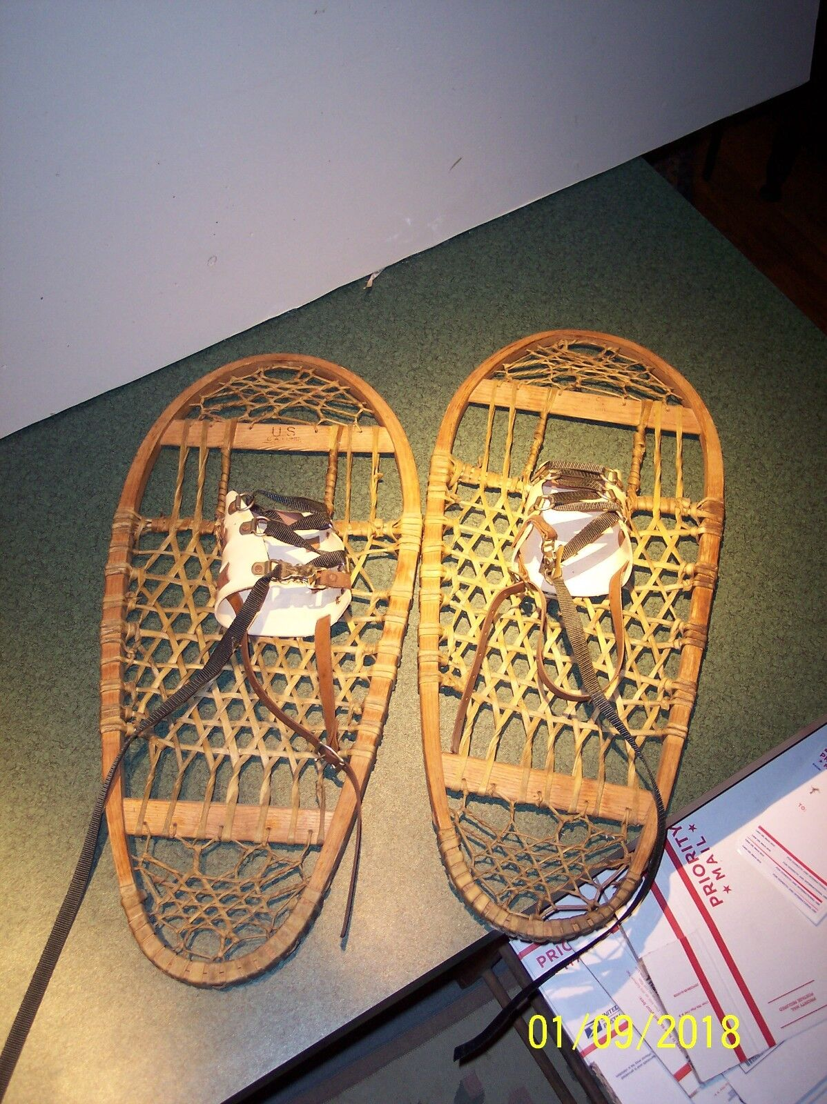 Vintage Wood & Leather Bear Paw Snow shoes