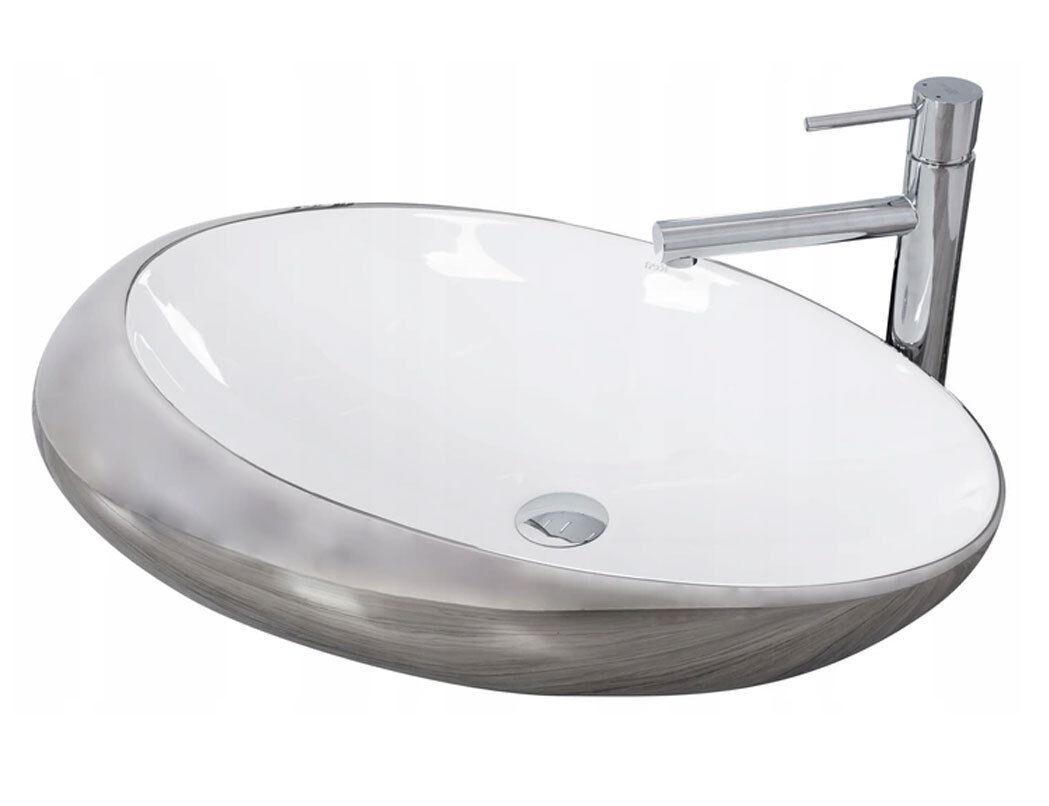 Nouveau moderne élégant Vasque ROXY Built-En 4 Tailles-Neige Blanc Céramique Et Argent