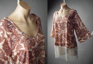 Paisley Ethnic Pattern Hippie Split V Neck Blouse Dress 253 mv Tunic 1XL 2XL 3XL