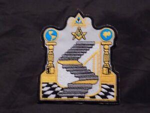 "Masonic 4"" Patch Iron Sew On 3*5*7 Stairway Pillars All Seeing Eye Master Mason"