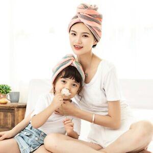 Microfiber-Bathing-Striped-Dry-Hair-Cap-Turban-Wrap-Towel-Hat-Hair-drying-Z
