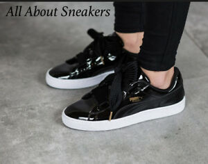 new concept a28a6 96239 Details about Puma Basket Heart Patent -Black-Black -Women Shoes Limited  One 363073 01 YOGI