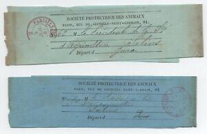 1881 / 82 2 Bandes Journaux Port Paye Imprimes Paris