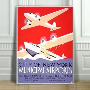 VINTAGE-TRAVEL-CANVAS-ART-PRINT-POSTER-New-York-Airports-Art-Deco-10x8-034