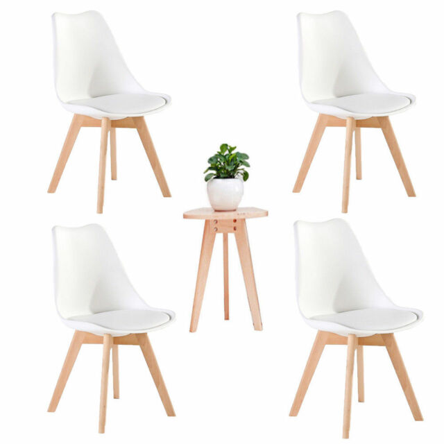 Set of 4 Retro Tulip Style DiningOffice Chair with Solid Wood Beech Legs White