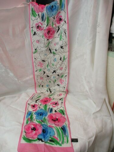 Vintage Specialty House 100% Silk Scarf pink green
