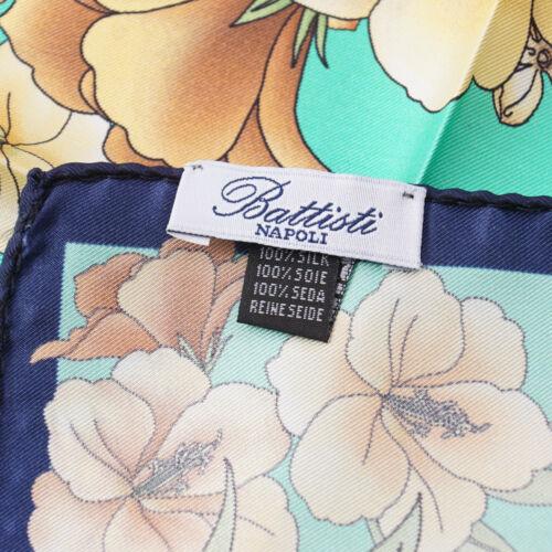 New $125 BATTISTI NAPOLI Turquoise Green Floral Print Silk Pocket Square