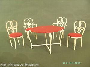 SALON DE JARDIN DE POUPEE ANCIEN. FER FORGE.1 TABLE RONDE/2 ...