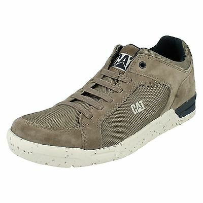 MENS GREY LIGHT BLUE SUEDE LEATHER LACE UP TRAINERS CAT INDENT CASUAL SHOES