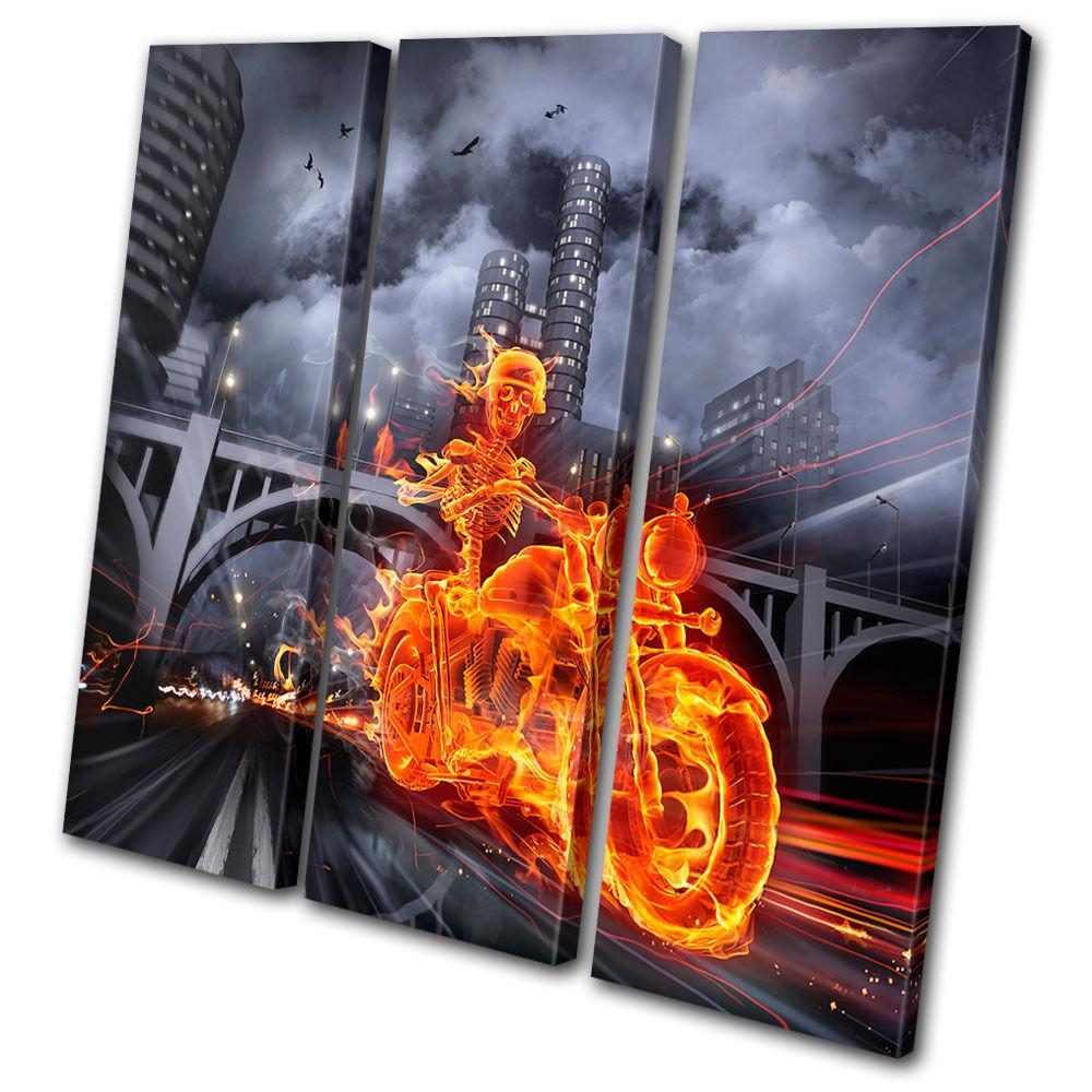 Transportation Flaming Motorcycle TREBLE TELA parete arte foto stampa stampa stampa fe9a6c