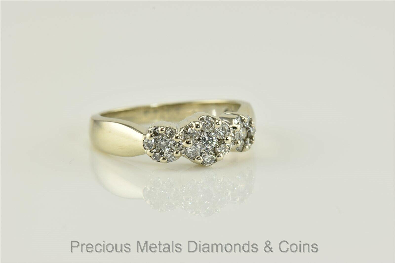 14k White gold 1tcw SI1 H Diamond Past Present Future Triple Cluster Ring Sz  7