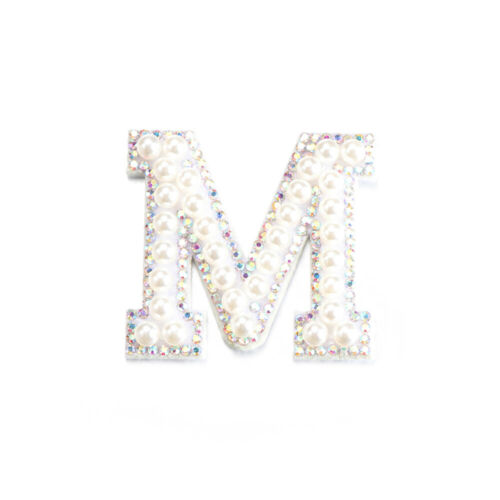 A-Z Pearl Rhinestone English Letter Sew On Patches Applique Sewing Accessories.