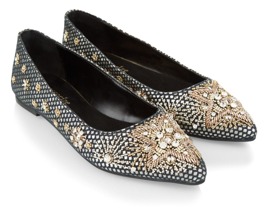 NEW ACCESSORIZE ARIANA EMBELLISHED POINT JEWEL BEADED PUMPS FLATS 40 40 40 6.5 8.5 b2cd37