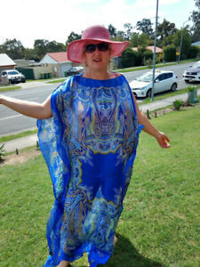 NEW-BLUE-Handmade-SILK-Kaftan-Plus-Size-Maxi-Beach-Caftan-Resort-Wear