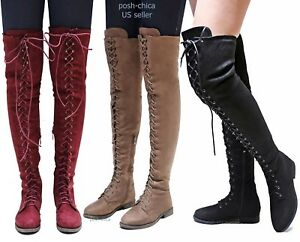 8f099b38bb49 New Women Ti45 Military Combat Over the Knee Lace Up Thigh High ...