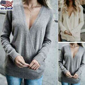 Women-039-s-V-Neck-Long-Sleeve-Knitted-Pullover-Jumper-Sweater-Casual-Tops-Plus-Size