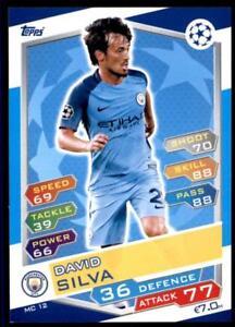 MC12 Match Attax Liga de Campeones 16//17 David Silva Manchester City no